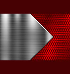 metal background with red perforated element vector image