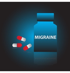 Migraine drugs blue box and red pills eps10 vector