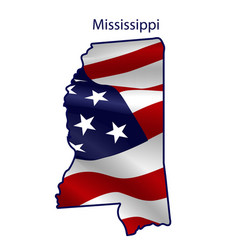 mississippi full american flag waving in the vector image