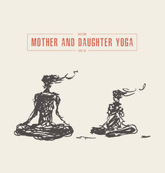 mother and child yoga relaxation meditation vector image