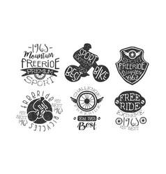 Mountain freeride premium retro labels set vector