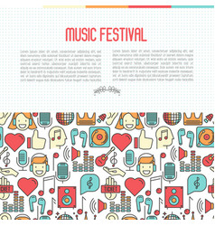 music festival concept with thin line icons vector image