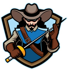 musketeer mascot logo vector image
