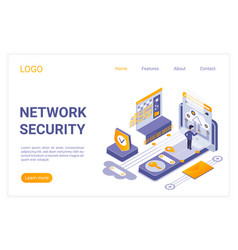 Network security landing page isometric vector