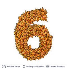 number six of autumn leaves vector image