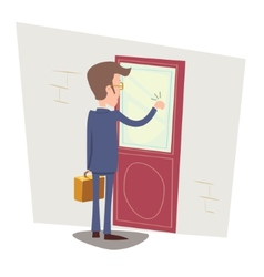 Oriented happy businessman with briefcase knocking vector