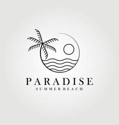 Paradise hawaii line art palm tree logo design vector
