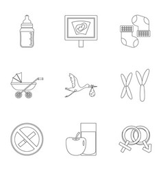 Pregnancy symbols icons set outline style vector