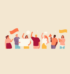 Protesting people group vector