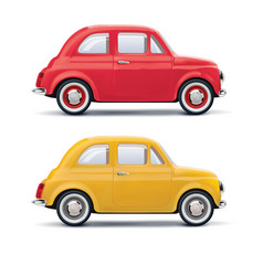 Red an yellow cars isolated on white 3d vector