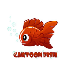 red cartoon fish swims in an aquarium vector image