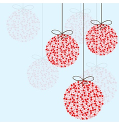 Red Christmas balls on a blue background vector