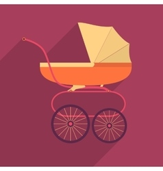 Retro baby stroller flat square icon with long vector