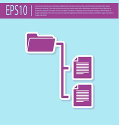 Retro purple folder tree icon isolated on vector
