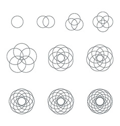 Round contour various sacred geometry set vector