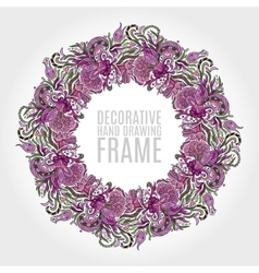 Round frame of flowers and some floral elements vector