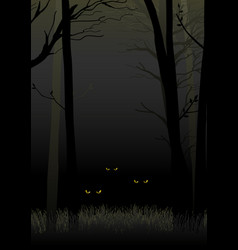 Scary eyes staring and lurking from dark woods vector