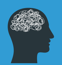 Silhouette human head with tangled line inside vector