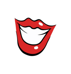 smiling female mouth with red lips vector image