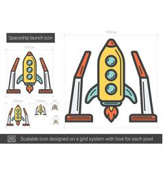 Spaceship launch line icon vector