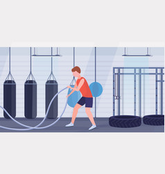 sporty man doing crossfit exercises with battle vector image
