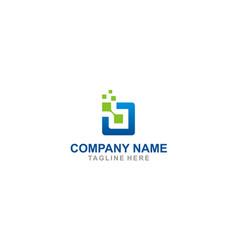 square digital technology logo vector image