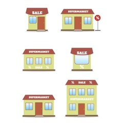 supermarket shop store icon set vector image