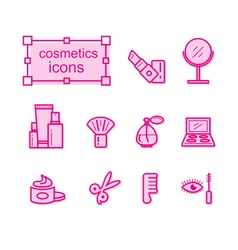 Thin line icons set Cosmetics vector image