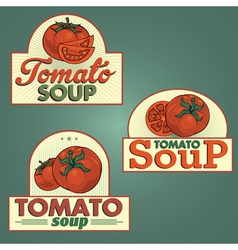 Tomato soup labels set vector image