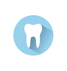 Tooth flat icon with shadow on a blue circle vector