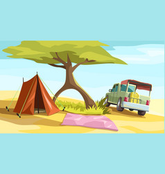 Tourist camp with truck near big tree vector