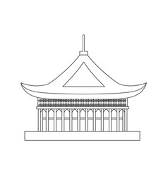 traditional asian house thin line object vector image