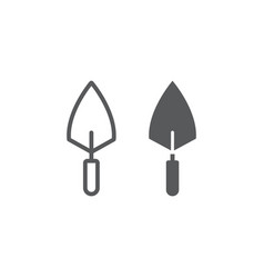 trowel line and glyph icon tool and repair vector image