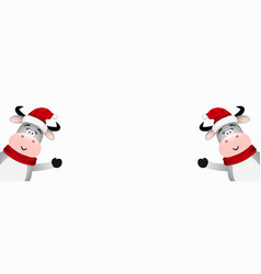 two funny santa bull on a white background vector image