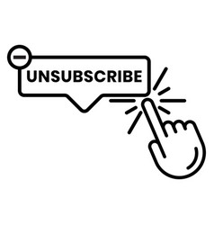 Unsubscribe message mail button - line art icon vector