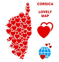 valentine corsica france island map collage vector image