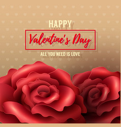 Valentines day background with red roses vector