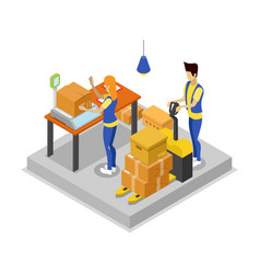 Warehouse with workers isometric 3d icon vector