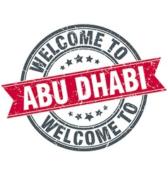 Welcome to abu dhabi red round vintage stamp vector