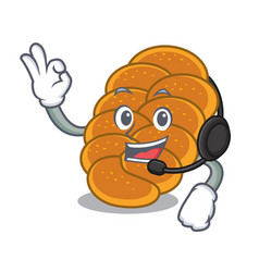 With headphone challah mascot cartoon style vector