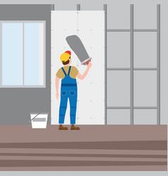 Workers put plaster installing gypsum vector