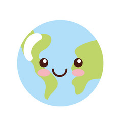 Earth kawaii. Geography icon vector images