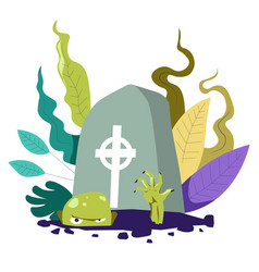zombie living undead creature crawling from grave vector image