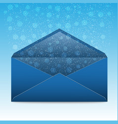 Christmas blue envelope with snowflakes and vector