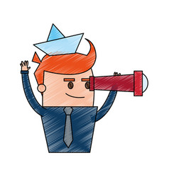 color pencil cartoon half body cartoon sailor man vector image vector image