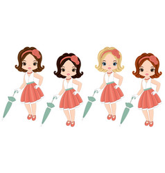 cute little girls in retro style vector image vector image