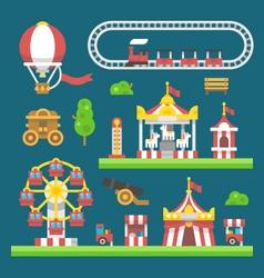 Flat design carnival amusement park vector image