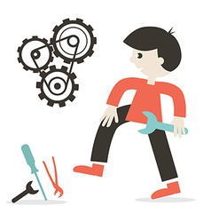 Repairing Icon with Man - Tools and Cogs vector image vector image