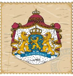 Coat of arms of Netherlands on postage stamp vector image vector image