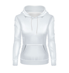 realistic white girl hoodie template mockup vector image